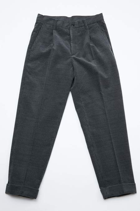 Beams+ 1 Pleat Wool Corduroy Pants - Grey