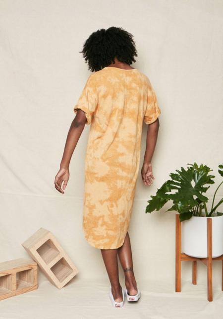 Backbeat Rags Tie Dye Recycled Cotton Dress - Golden