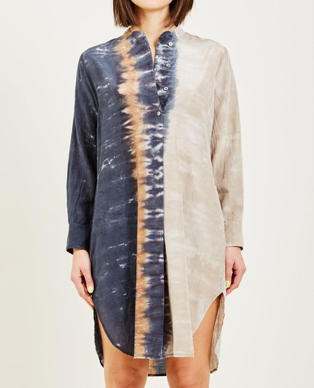 Raquel Allegra CAVES TIE DYE HENLEY TUNIC DRESS - NAVY