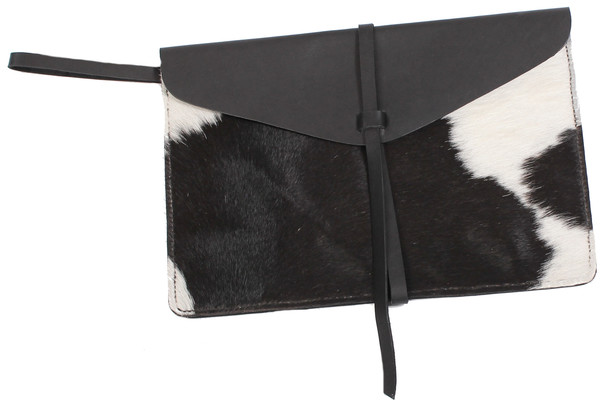 Minnie + George Calf Hair Envelope Clutch in Black