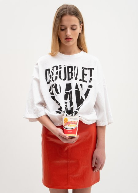 Doublet Slogan T-Shirt in Instant Noodle Cup - White