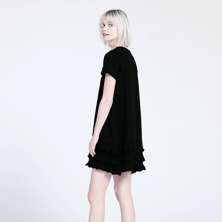 Wilt Ruffle Dress - Black