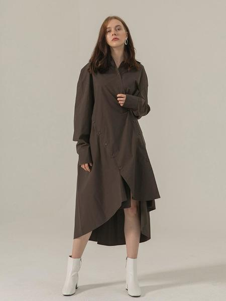 BROW END. Over Fit Button Shirt Dress - Brown