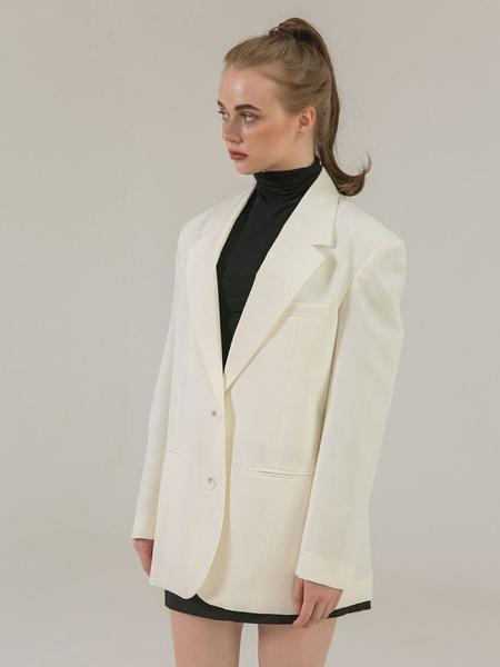 BROW END. Two Button Over Jacket - Cream