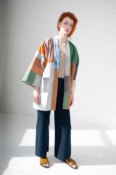 Jess Feury Quilted Kimono Jacket - Earth with Indigo