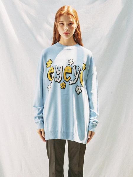 EYEYE Flower Eyeye Logo Knit Top - Blue