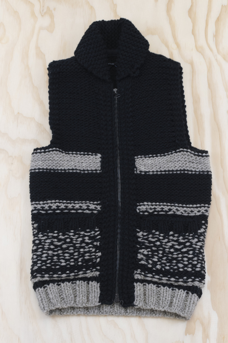 Wings + Horns Handknit Duffle Cowchain Vest - grey/charcoal