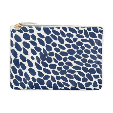 Clare V. Flat Clutch in White Smooth Goat