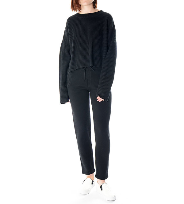 Charlie May Black Ribbed Pullover