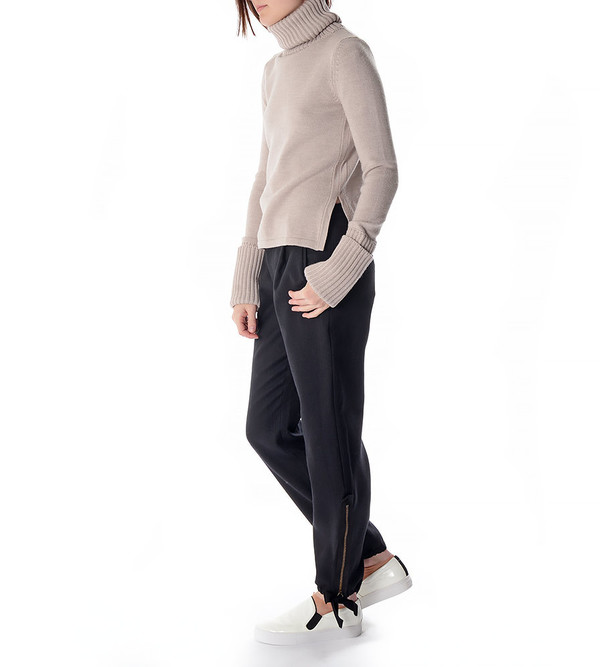 Charlie May Oatmeal Plain Polo Knit Turtleneck Sweater