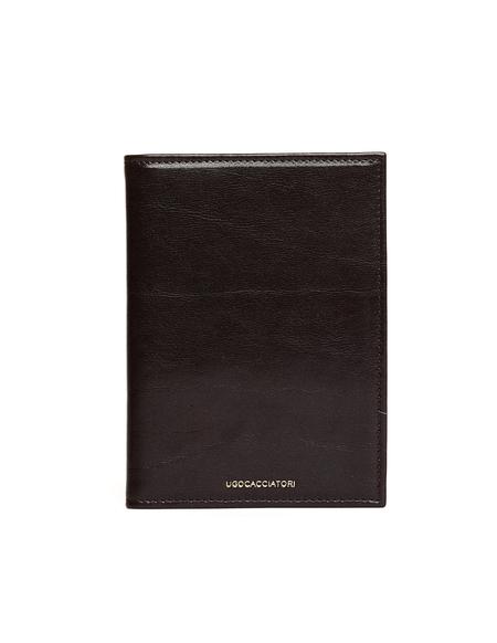 Ugo Cacciatori Leather Passport Wallet - Dark Brown