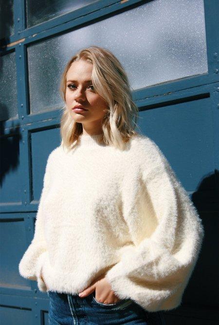 Azalea Fuzzy Mock Neck Sweater - Ivory