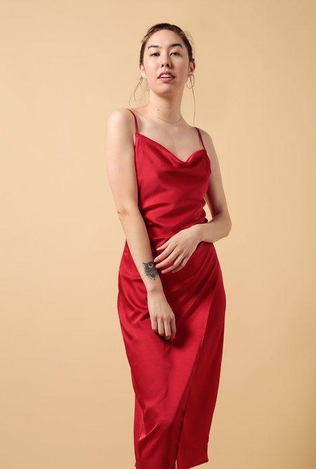 Azalea Spaghetti Strap Cowl Neck Slip Dress - RED