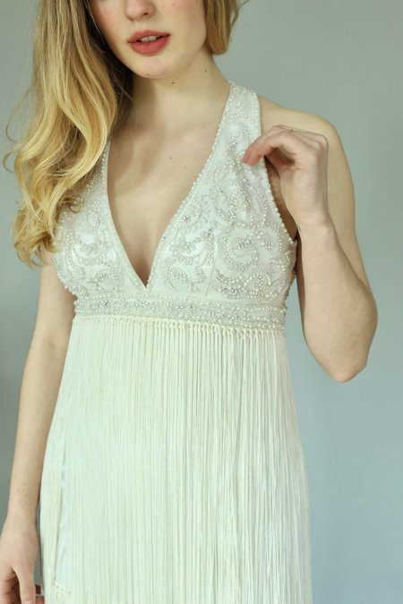 Vintage Fringe Bridal Dress - WHITE