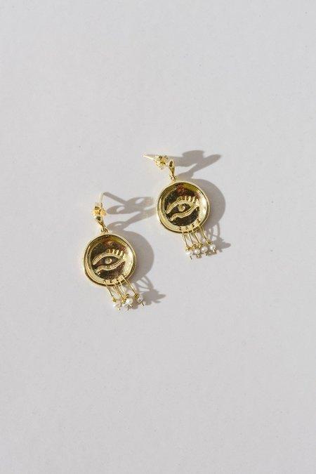 Swim To The Moon The Mati Earrings - Gold