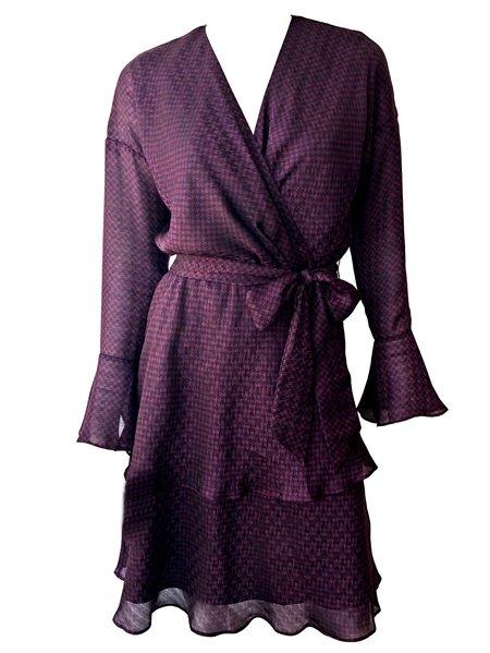 Joie Marcel Houndstooth Print Dress - BLACKBERRY