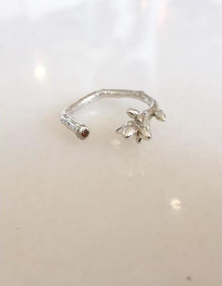 Kate Furman Jewelry Twig Wrap Ring with Red Diamond - SILVER