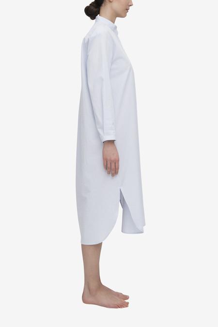 The Sleep Shirt Ankle Length Sleep Shirt - Blue/White Seersucker