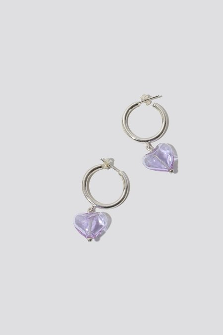 Alexa De La Cruz Lavender Heart Drop Hoop Earrings - Silver