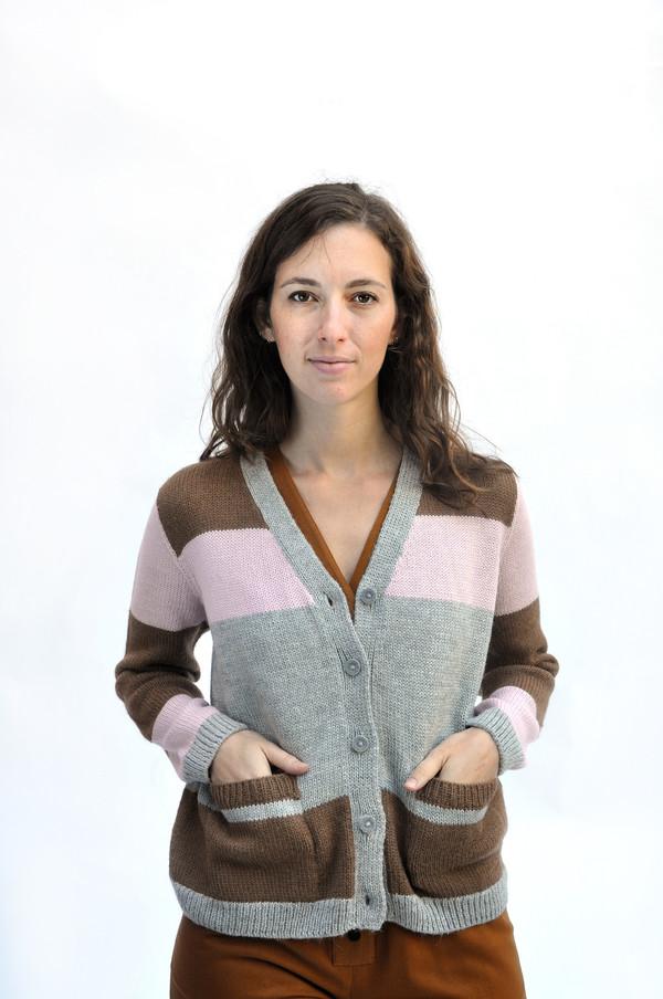Dusen Dusen Neutral Combo Ceramics Cardigan Sweater