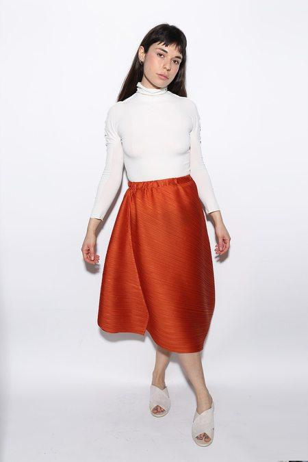 Issey Miyake Pleated Cross Grain Skirt - Rust