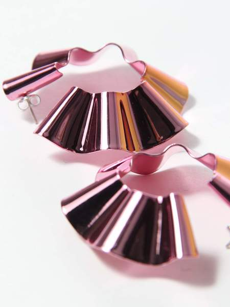 Gaviria Large Ravioli Earrings - Light Pink
