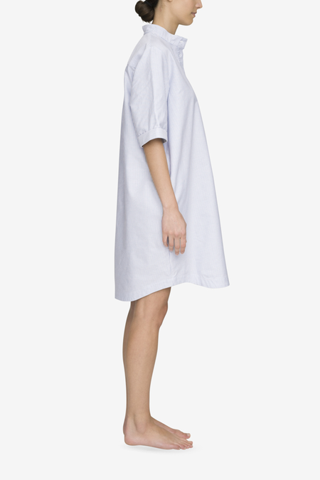 The Sleep Shirt Mid Sleeve Sleep Shirt - Blue Oxford Stripe