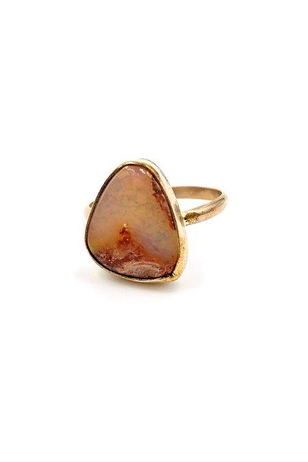 Broken Arrow Fire Opal Kingman Ring - Gold