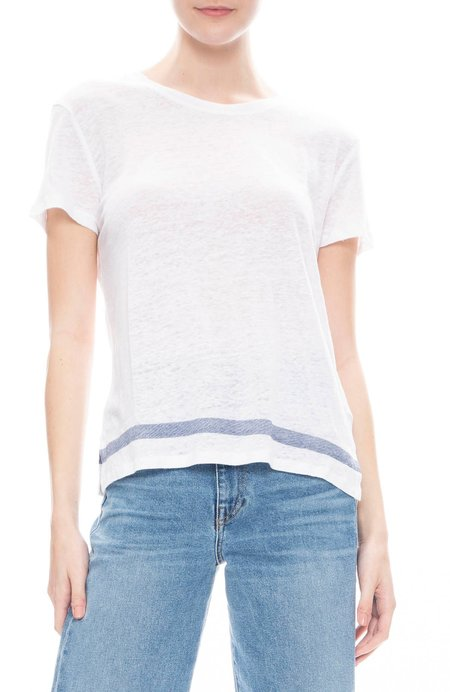 Majestic Filatures Linen Short Sleeve Shirt - Blanc/Marine