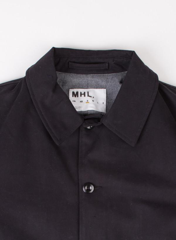 Men's MHL Margaret Howell Drawstring Parka Proofed Cotton Drill Navy