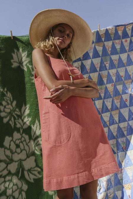 Carleen Charlotte Denim Mini Dress - Salmon Red