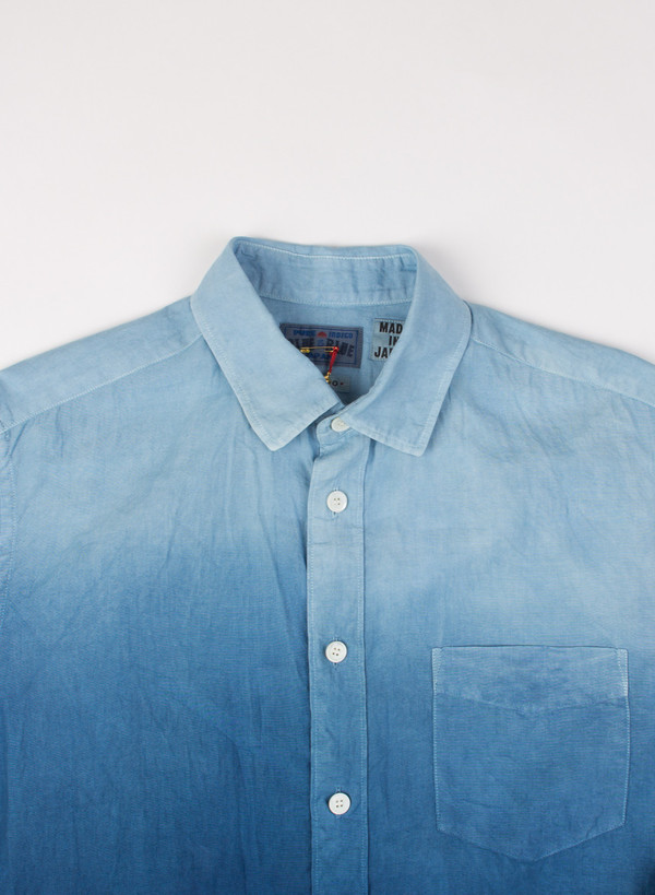 Men's Blue Blue Japan Pure Indigo Gradation Cotton LS Shirt