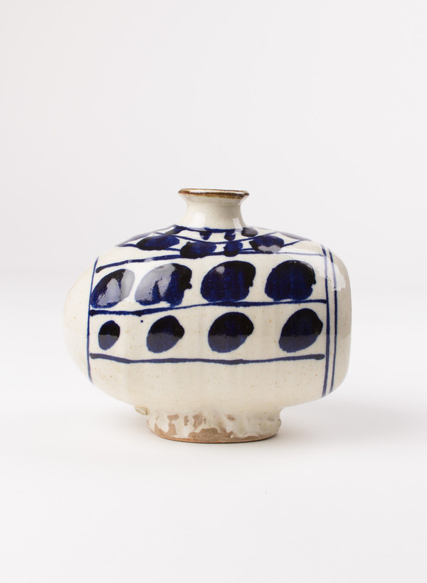 The Hill-Side Tawara Vase Blue and Natural Abstract Leaves