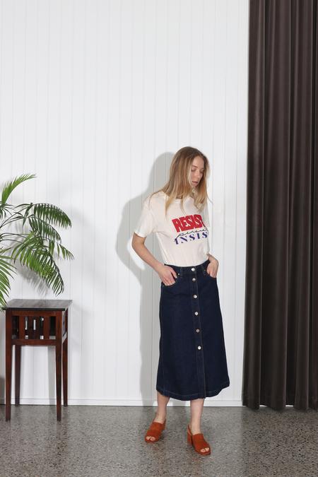 Goldsign Button Front Denim Skirt - Easton