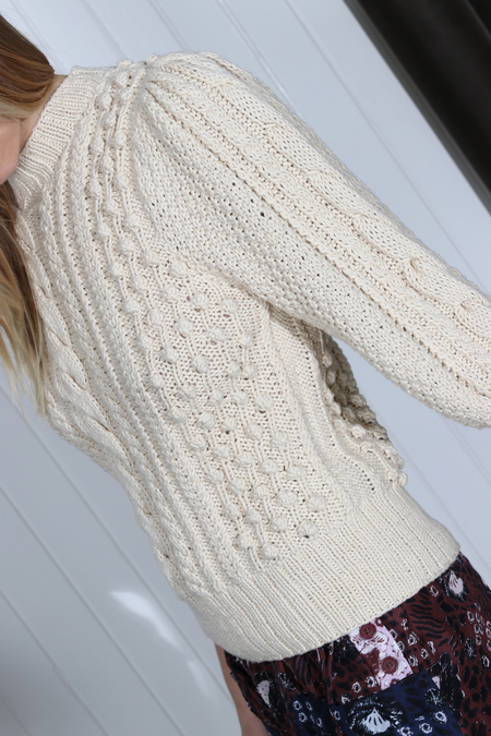 Apiece Apart Ermita Cable Stitch Puff Sleeves Sweater - cream