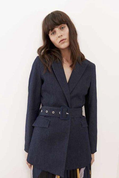Just Female Antonino Denim Belted Blazer