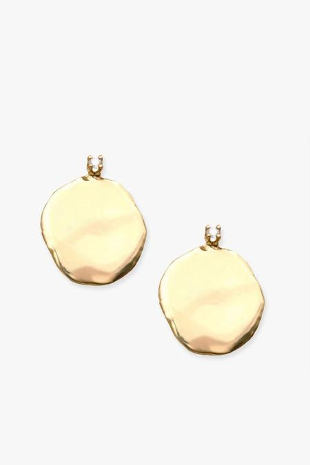 WWAKE Extra Large Diamond Disc Stud Earrings - Gold