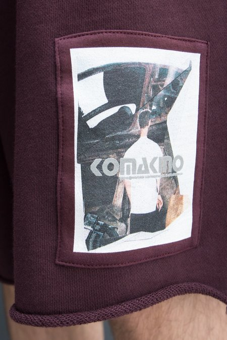 Komakino Scraps Fleece Shorts - Burgundy