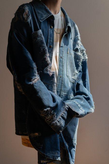 Faith Connexion Oversized Destroyed Denim Shirt Jacket - blue