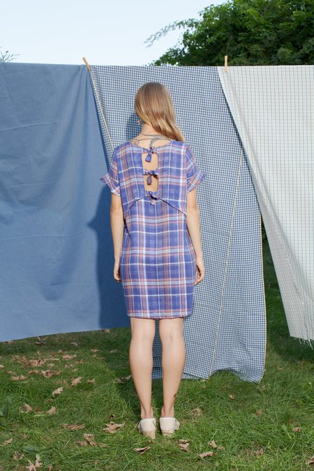 Conrado Zoe Shift Dress - Purple Plaid