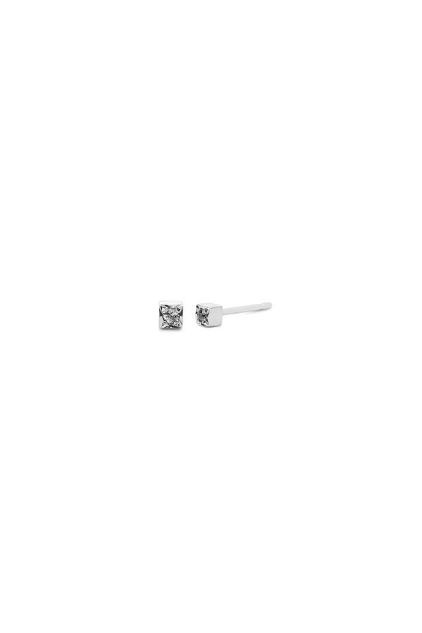 One Stone Box Single Stud 14KWG - White Diamond