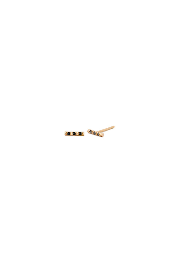 Three Stone Mini Bar Single Stud 14KYG - Black Diamond
