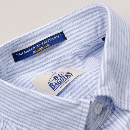BD Baggies Bradfort BD Shirt With Pocket - Oxford Striped Light Blue