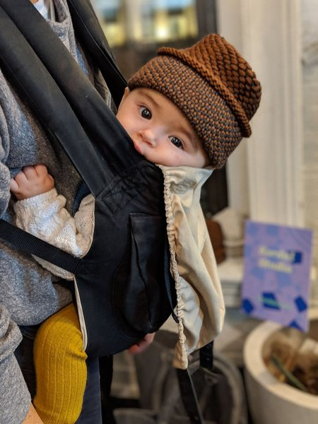 Kids Kordal Ellen Baby Seed Stitch Hat - Brown/Dark Grey