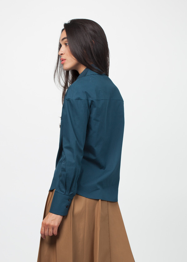 Gianfranco Scotti Asymmetrical Collar Poplin Shirt
