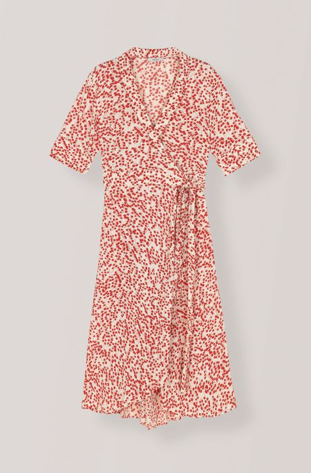 Ganni Wrap Dress - Printed Crepe
