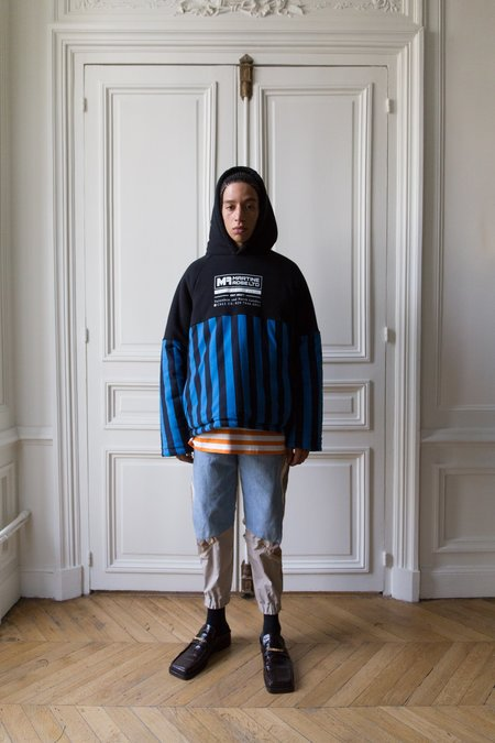 Martine Rose Split Wadded Striped Hoodie - blue