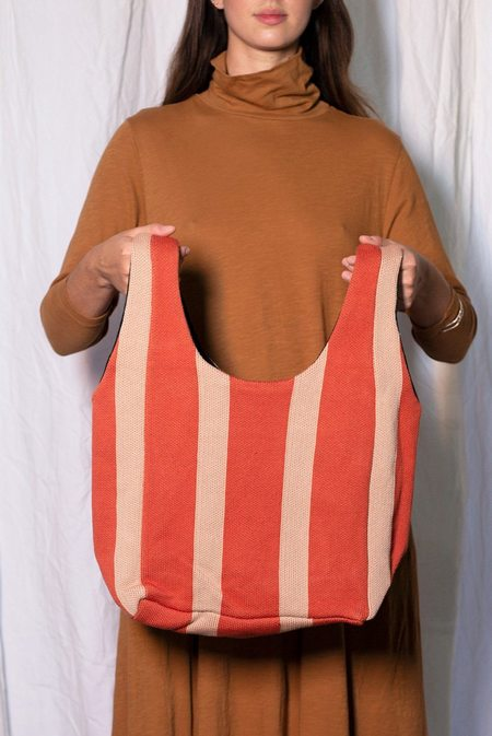 Hansel From Basel Vertical Stripe Shopper Bag - RUST