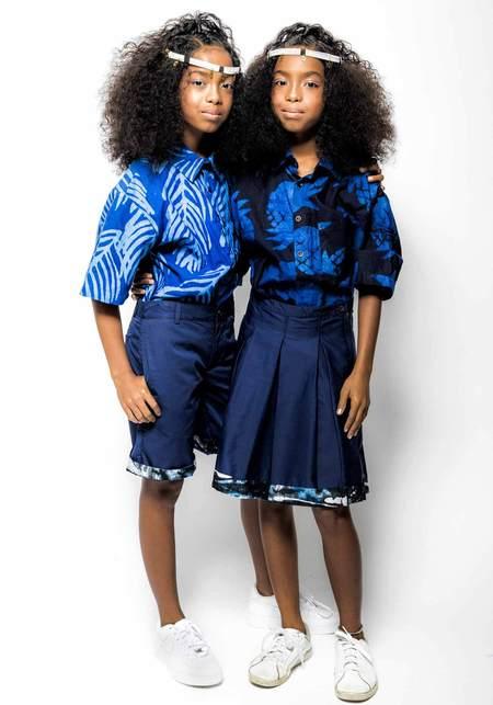 Unisex Studio One Eighty Nine Andy Hand-Batik Cotton Button Down Short Sleeve Shirt - Blue Pineapple