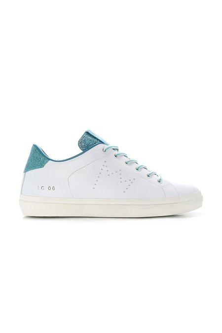 Leather Crown Classic Low Top Sneaker - White/Blue Glitter
